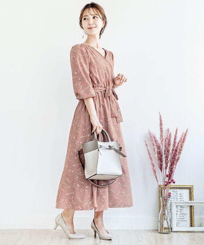 送料無料/ワンピース/マキシ丈/花柄/カシュクール/オータムピンク/ブラウン/ピンク