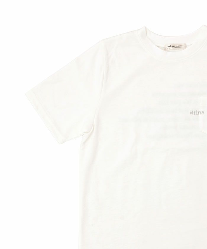 トップス/カットソー/Tシャツ/刺繍/ロゴ/ホワイト/グレージュ