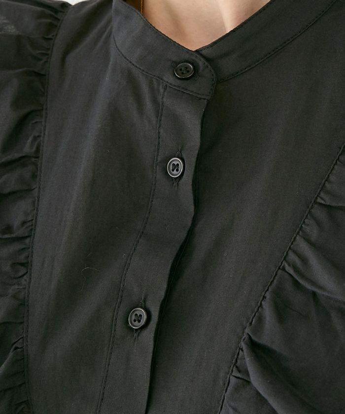 セレクト/ブラウス/スタンドカラー/フリル/フレンチスリーブ/フロントボタン/シャツ/ホワイト/ブラウン/ブラック/夏/春/きれいめ/上品/綿/コットン/