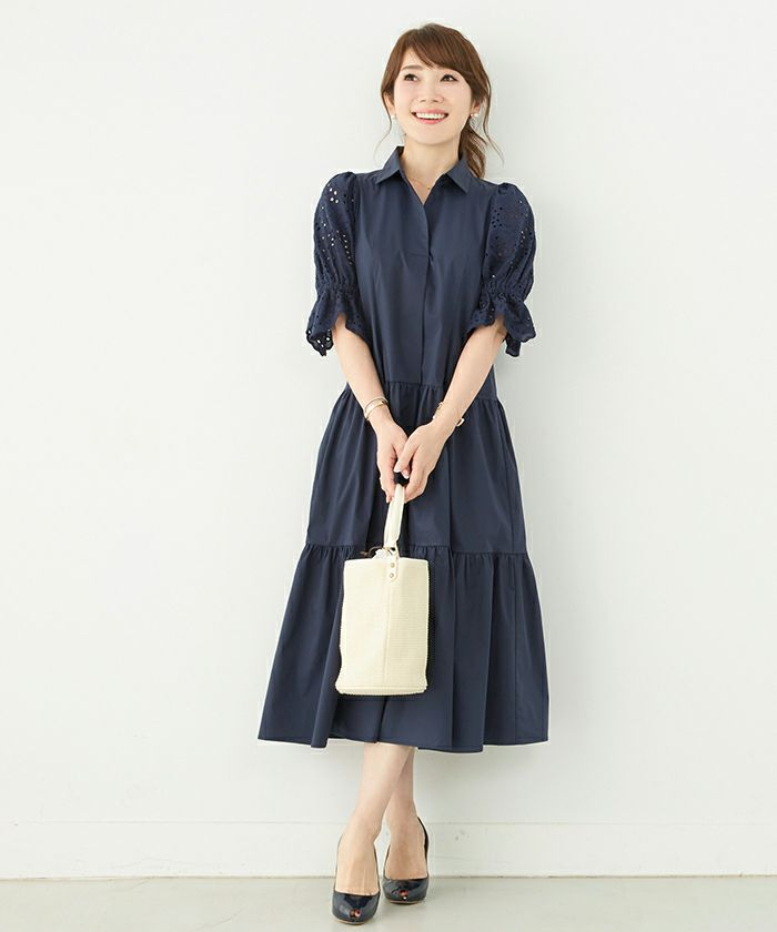 異素材MIX/コットンレース/シャツ/ミモレ/襟付き