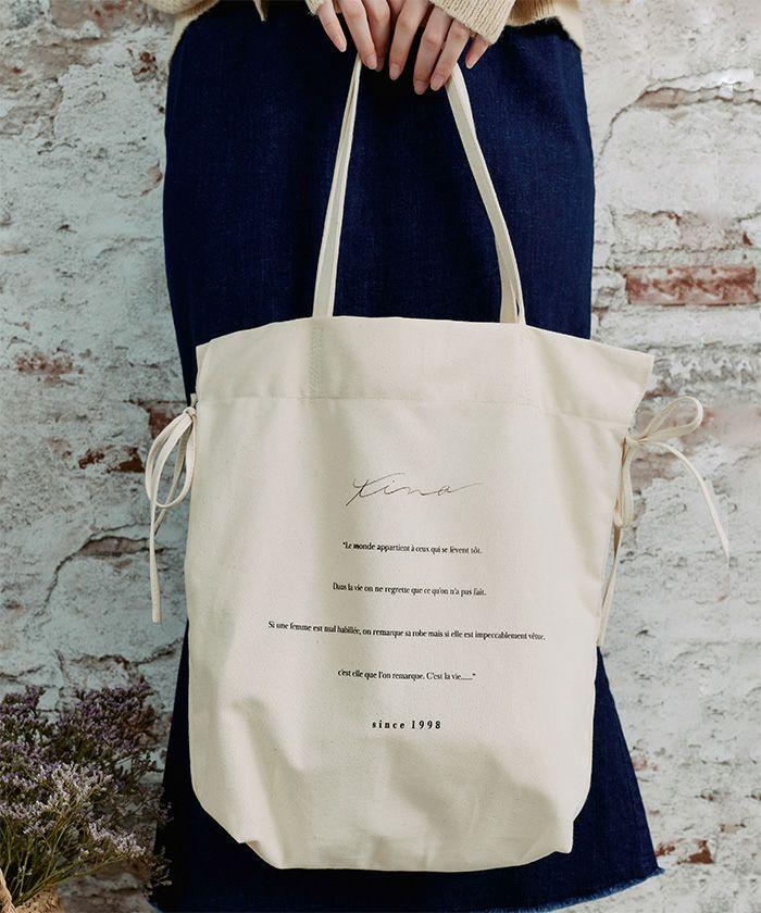 トートバッグ/キャンバス/リボン/刺繍/雑貨/アイボリー/ブラック