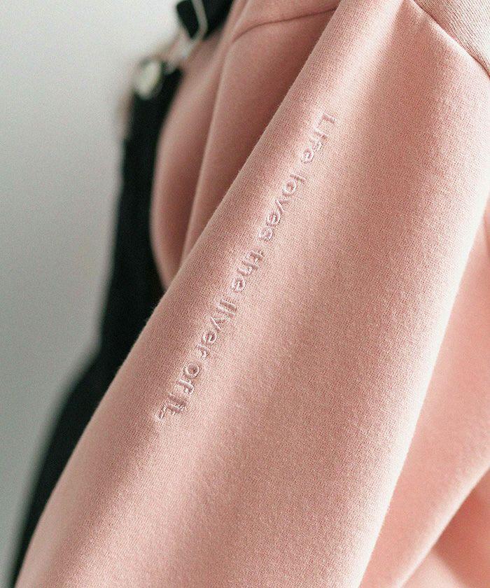 トップス/ユニセックス/刺繍/ロゴ/スウェット/アイボリー/ネイビー/ピンク/ミント