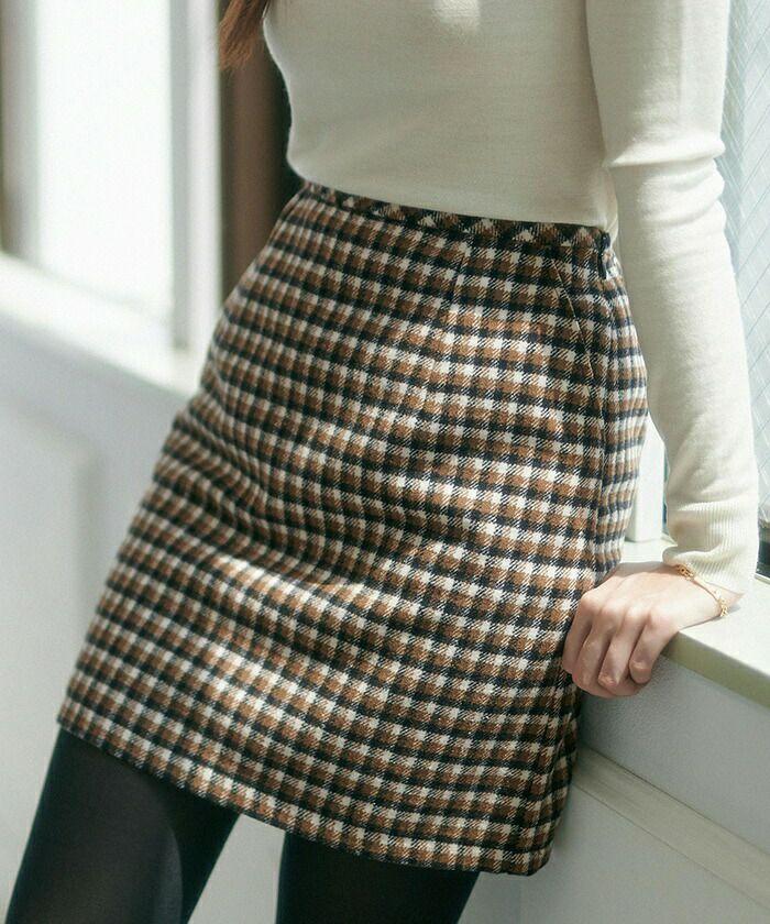セットアップ/スカート/ショート/チェック/台形/ブラック/ブラウン