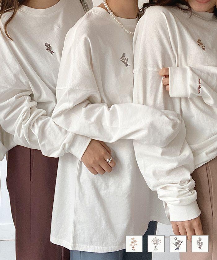 Tシャツ ロング フラワー 刺繍