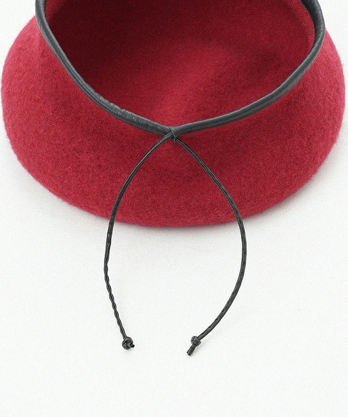 ベレー帽/帽子/ウール/小物/レッド/ブラック