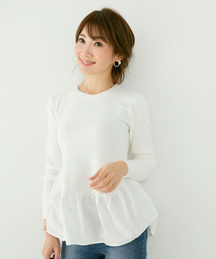新色追加/長袖/切り替え/フリル/ボーダー/秋/冬
