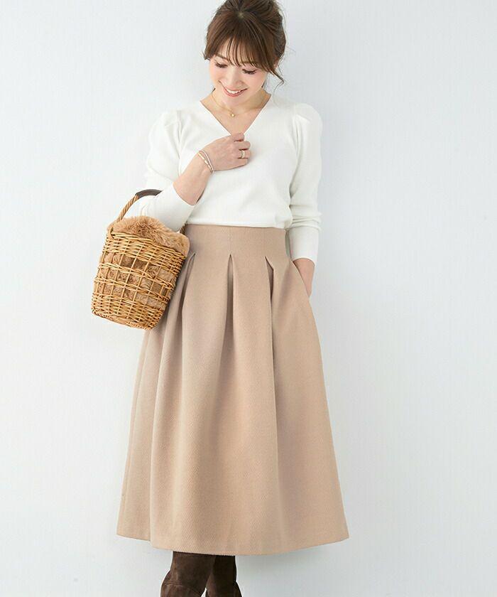 ロングスカート/ふわふわ/ヘリンボーン/パステルカラー/秋/冬/春