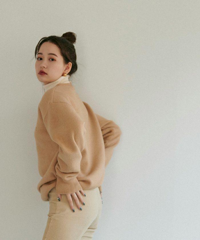 ニット/ユニセックス/刺繍/秋/冬/アイボリー/ブラウン/グレー