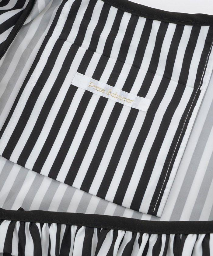 プリマシェレル/PrimaScherrer/エコバッグ/ランチバッグ/ストライプ/リボン/フリル/コンパクト/折り畳み/撥水加工/手洗い可/シンプル/大人可愛い/ポケット付き/ブラック/ピンクベージュ/