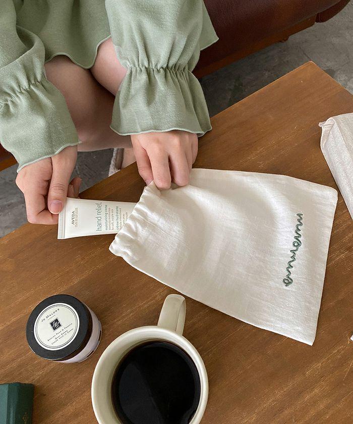 エプロン/刺繍/巾着/お花/おうち時間/ベージュ/グリーン