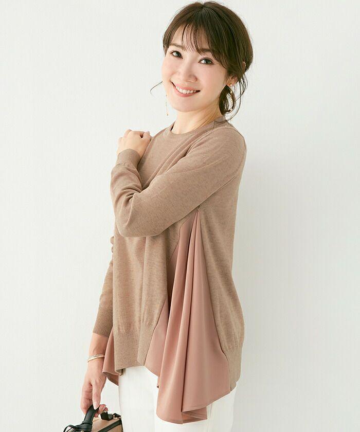 長袖/異素材mix/クルーネック/ハイゲージ/フレア