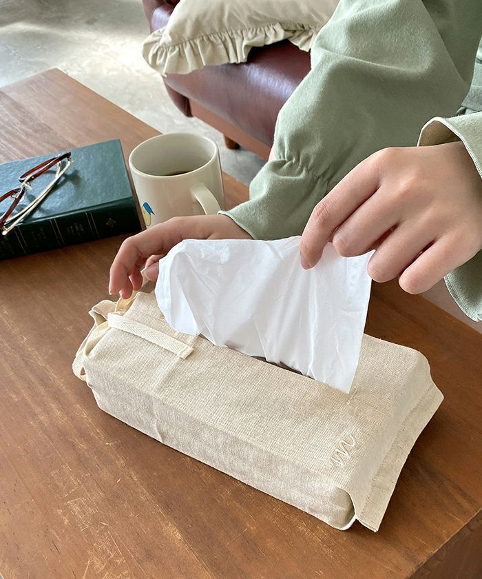 <alt> ティッシュケース/刺繍/バイカラー