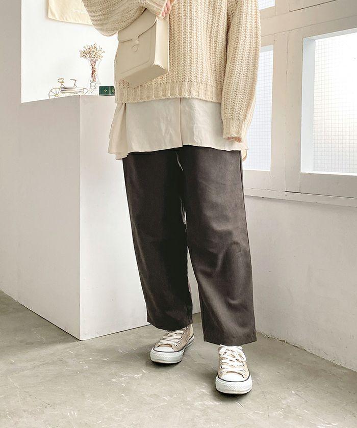パンツ/タック/ピーチスキン