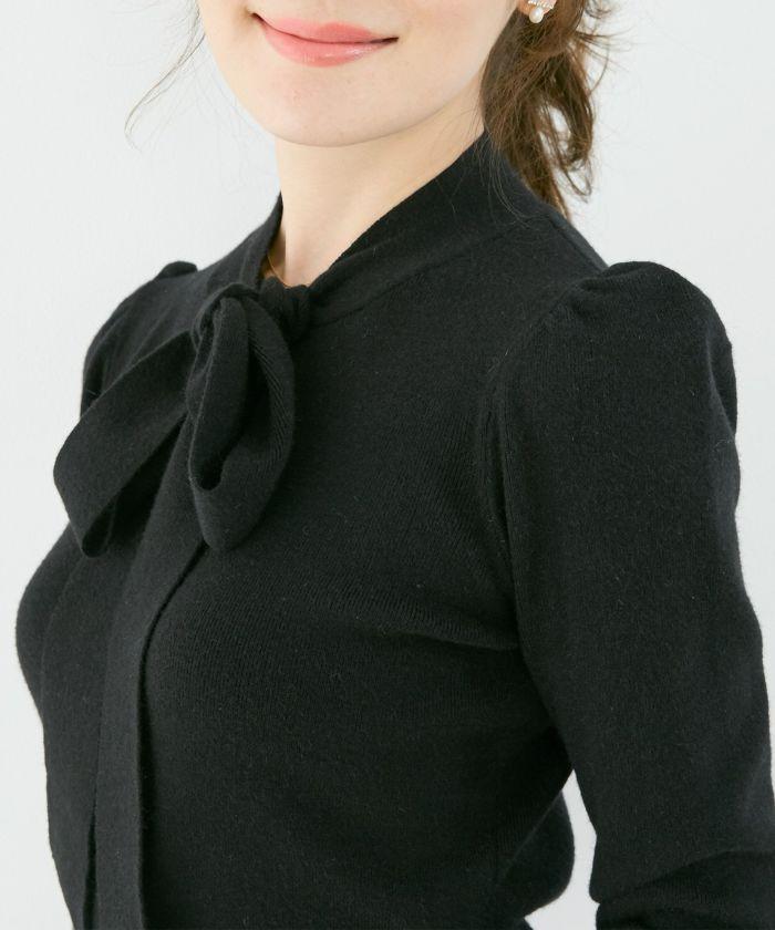 手洗い可/長袖/フロントリボン/ハイゲージ/プチハイネック/上品