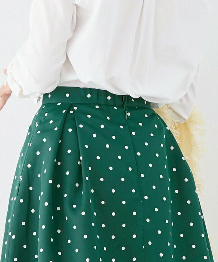 日本製/ドット/ミモレ丈/上品/春/ボトムス/フェミニン