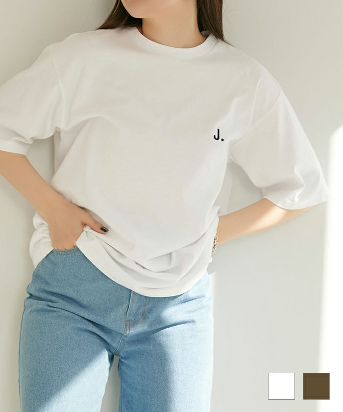 ★J.刺繍ユニセックスTシャツTINA:JOJUN