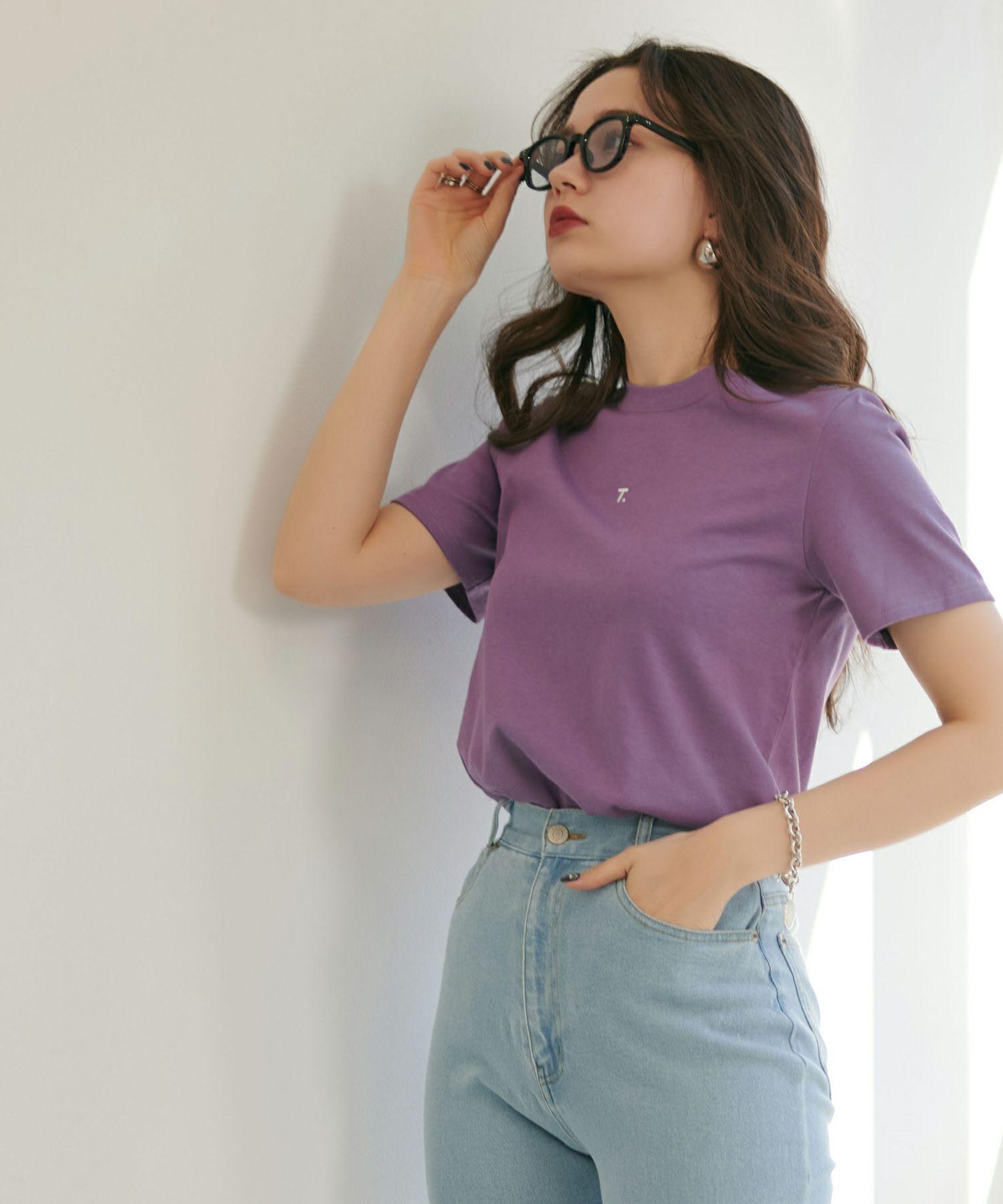 Tシャツ/刺繍入り/ホワイト/パープル/グレー/ブラック