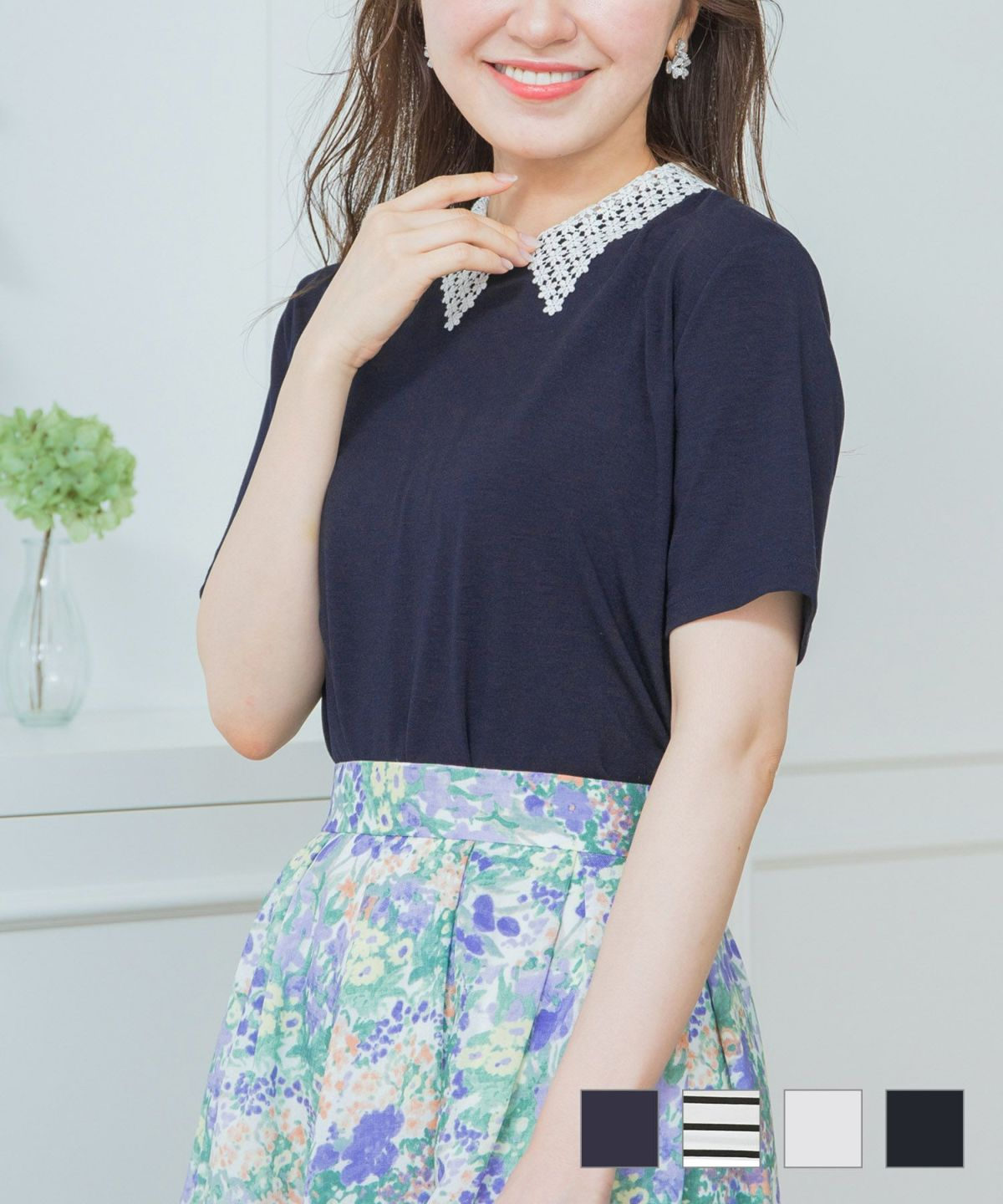 Tシャツ レース衿 カットソー 千葉由佳 and Cherim