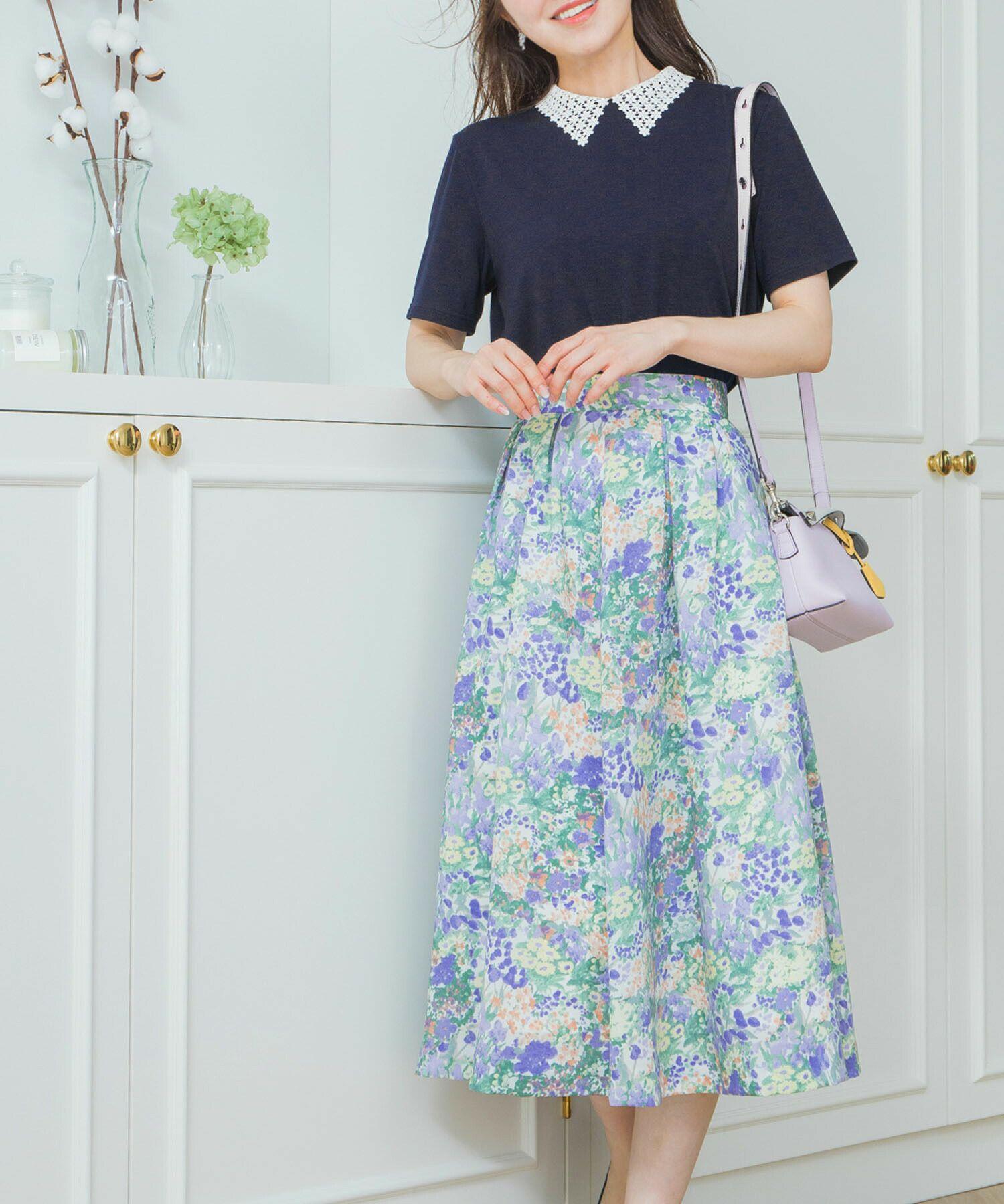 日本製/洗濯可/手洗い可/半袖/レース/襟付き/モノトーン/フェミニン/ホワイト/ブラック/上品/襟付きTシャツ