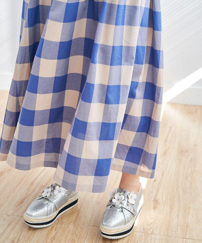 日本製/手洗い可/チェック/ギャザースカート/フレア/春/ブルー/ギンガムチェック/ブロックチェック/レッド/イエロー/フレアスカート/綿/春スカート/フェミニン/無地スカート
