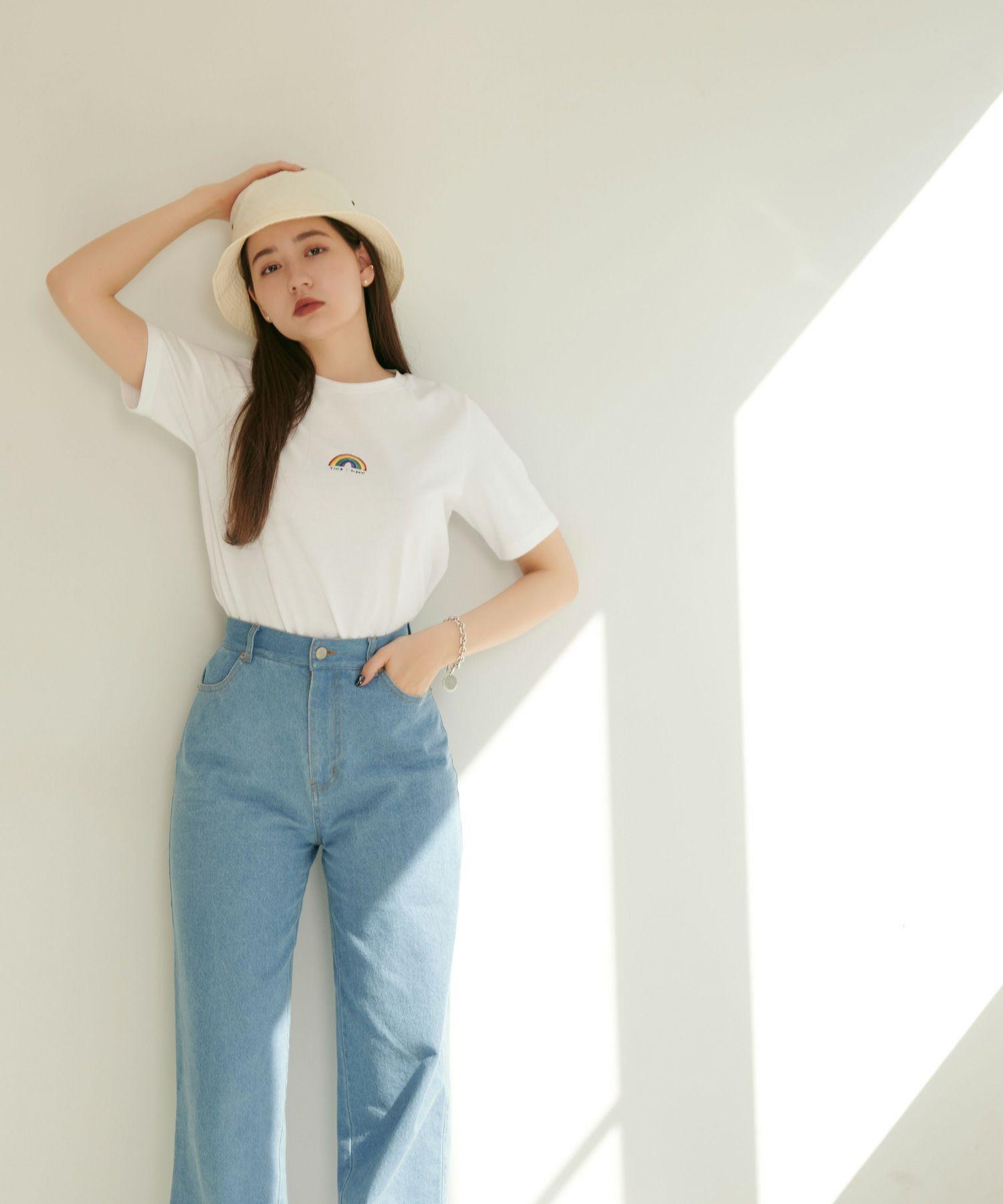 半袖Tシャツ/刺繍入り/ホワイト/ネイビー
