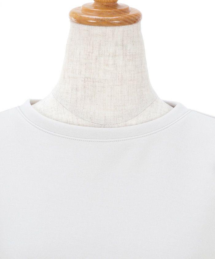 日本製/トップス/カットソー/ペプラム/ドット/チュール袖/手洗い可/洗える/パフ袖/5分袖/ラウンドネック/S/M/ホワイト/ライトグレー/ネイビー/