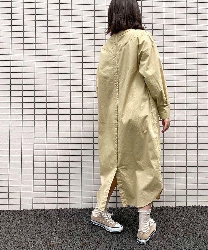 ワンピース/シャツ/ロング丈/2way/ホワイト/ベージュ