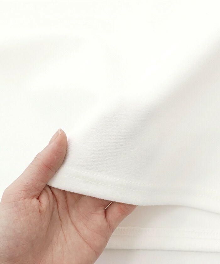 レディース/手洗い可/トップス/カットソー/Tシャツ/ロゴ/半袖/ホワイト/ピンク/ピーチ/シンプル/柔らか/なめらか/きれいめ/上品/ロールアップ/ロールバック/透けない/ストレッチ/伸縮/伸びる/ロゴT/着回し/クルーネック/大人可愛い/フェミニン/ロゴプリント/春/夏