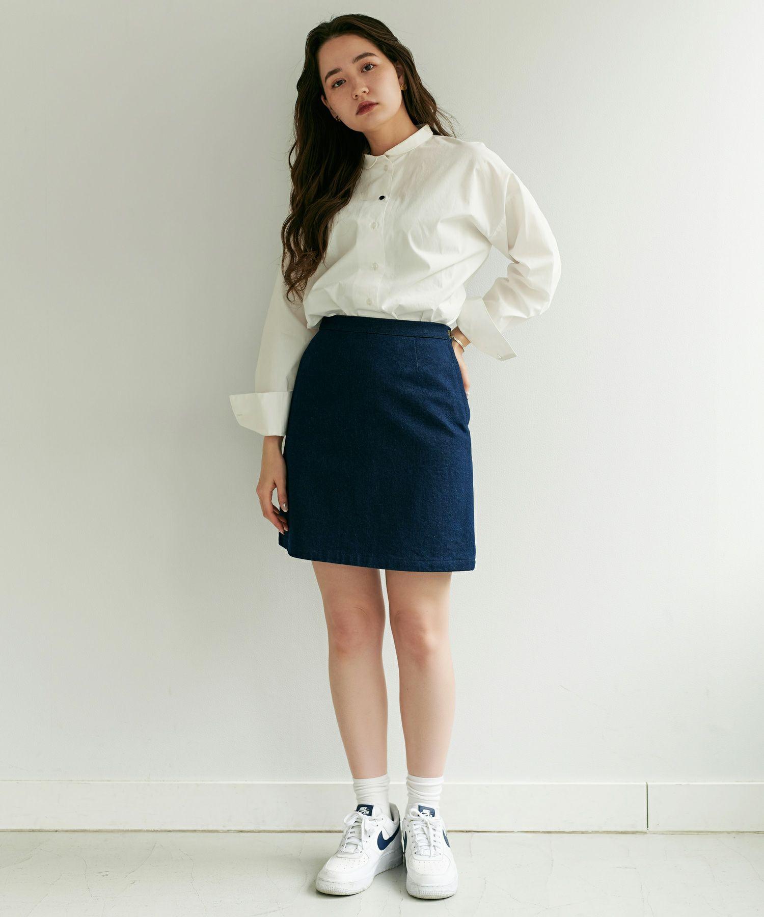 デニムスカート/ミニ丈/インディゴ/ライトブルー