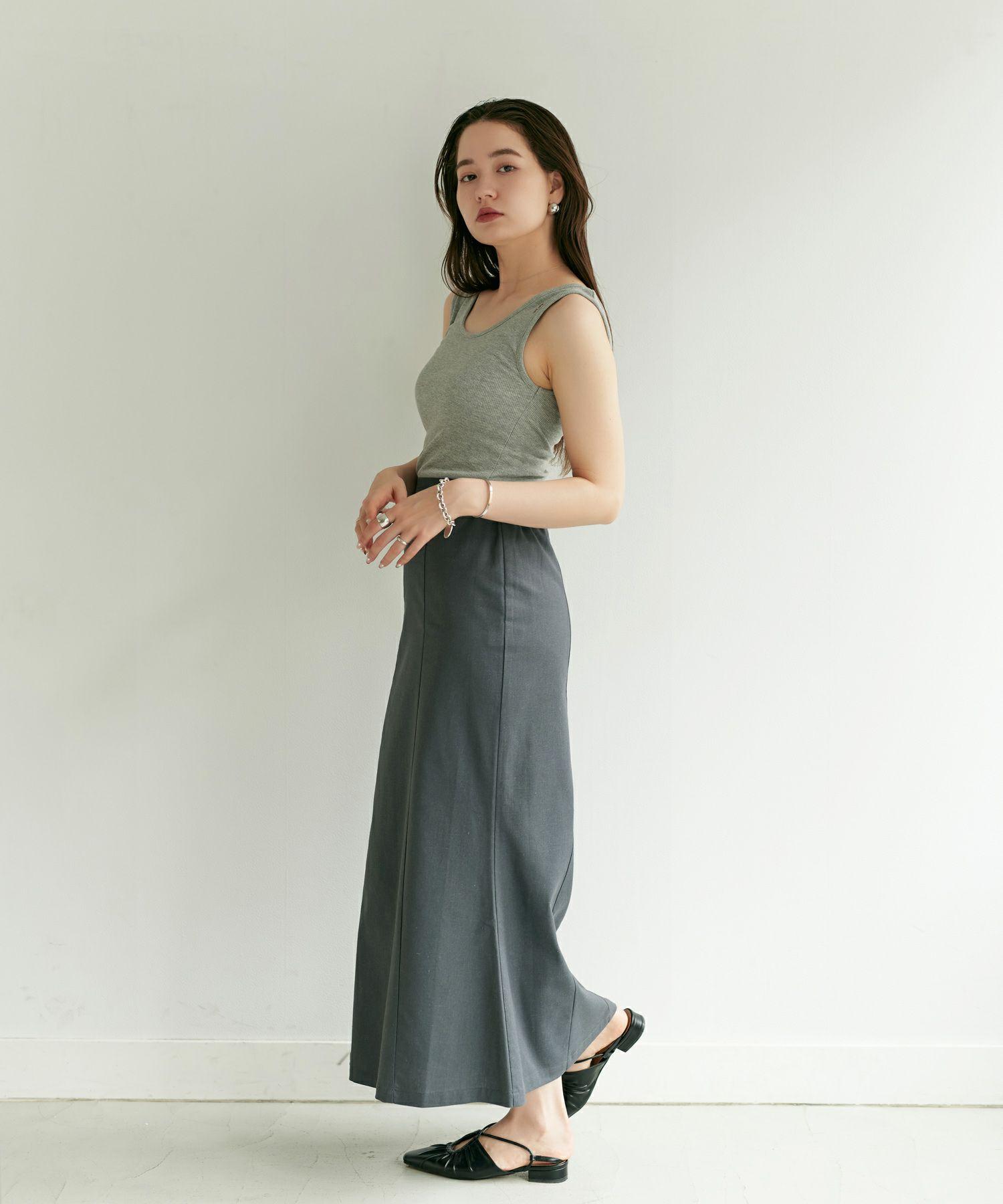 マーメイドスカート/ロングスカート/グレー/パープル