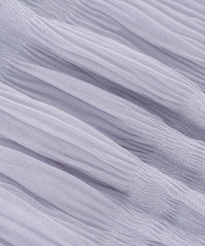 手洗い可/シアー/異素材MIX/キャンディスリーブ/くすみカラー/イエロー/グレイッシュピンク/ラベンダーグレー/ラベンダー/ピンク/異素材切り替え/透け感/春ニット/ラウンドネック/サマーニット/スプリングニット/マジョリカプリーツ/マジョプリ