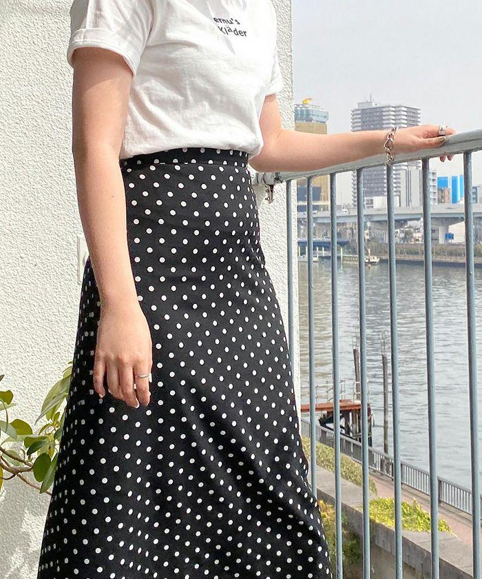 スカート/ドット/ロング丈/ミント/ブラック