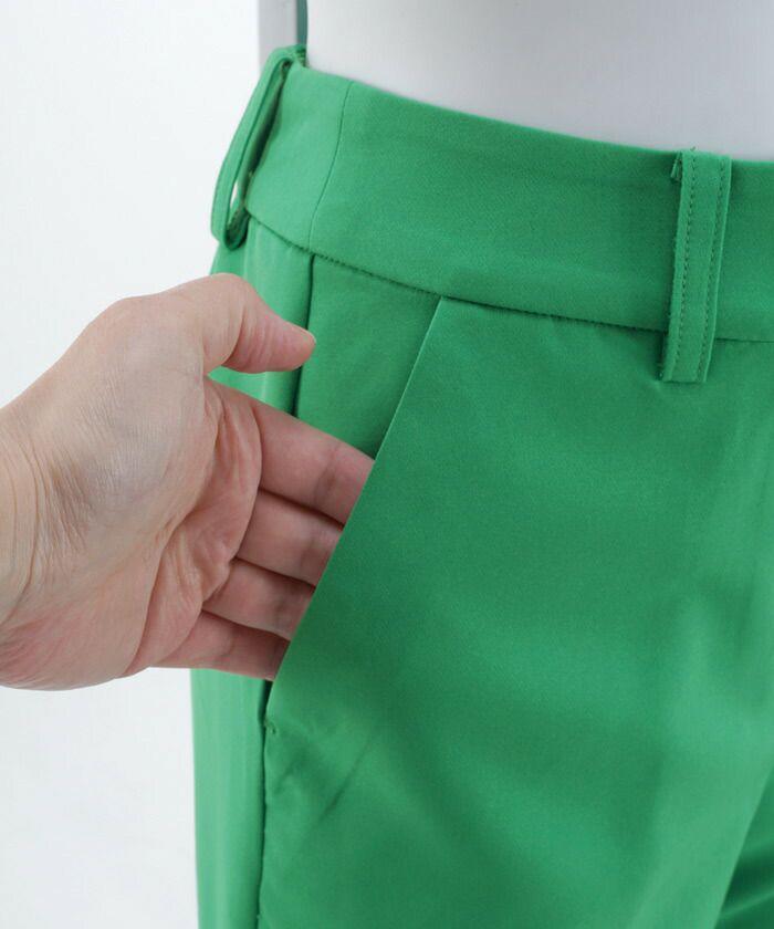 レディース/ボトムス/パンツ/ズボン/スリット/パール/センタープレス/テーパード/アンクル丈/S/M/ホワイト/イエロー/グリーン/ピンク/きれいめ/ウエストゴム/ポケット付き/洗える/手洗い可/洗濯可/