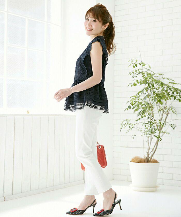 ペプラム/フロントボタン/エレガント/夏/上品