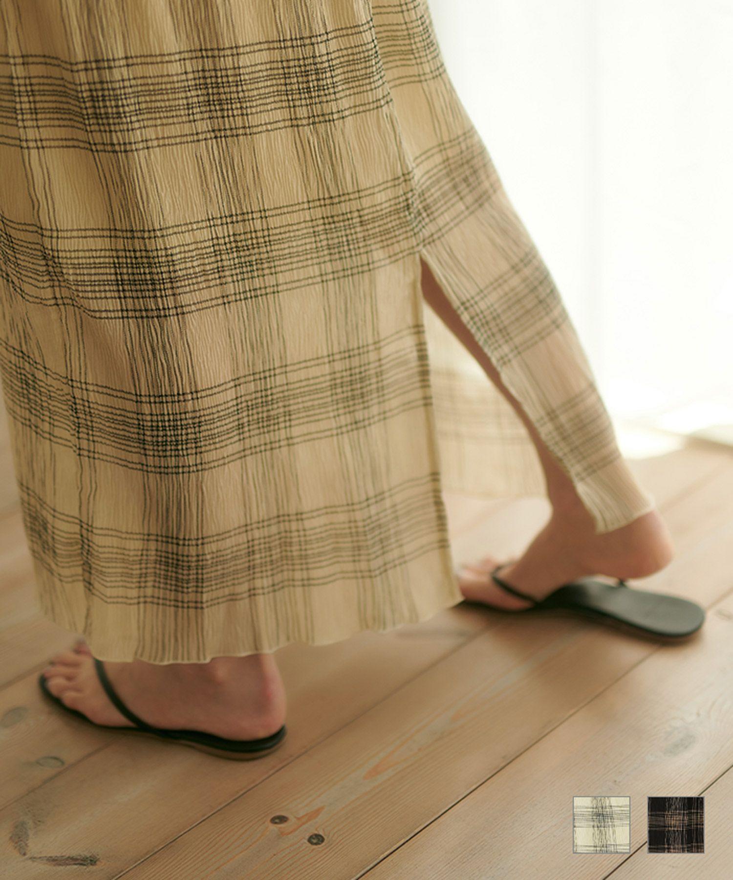 ★プリーツチェックロングスカートTINA:JOJUN