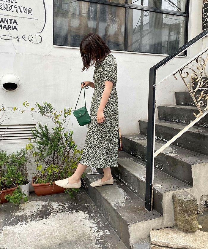 ワンピース/花柄/ヴィンテージライク/ロング丈/ライトベージュ/グリーン