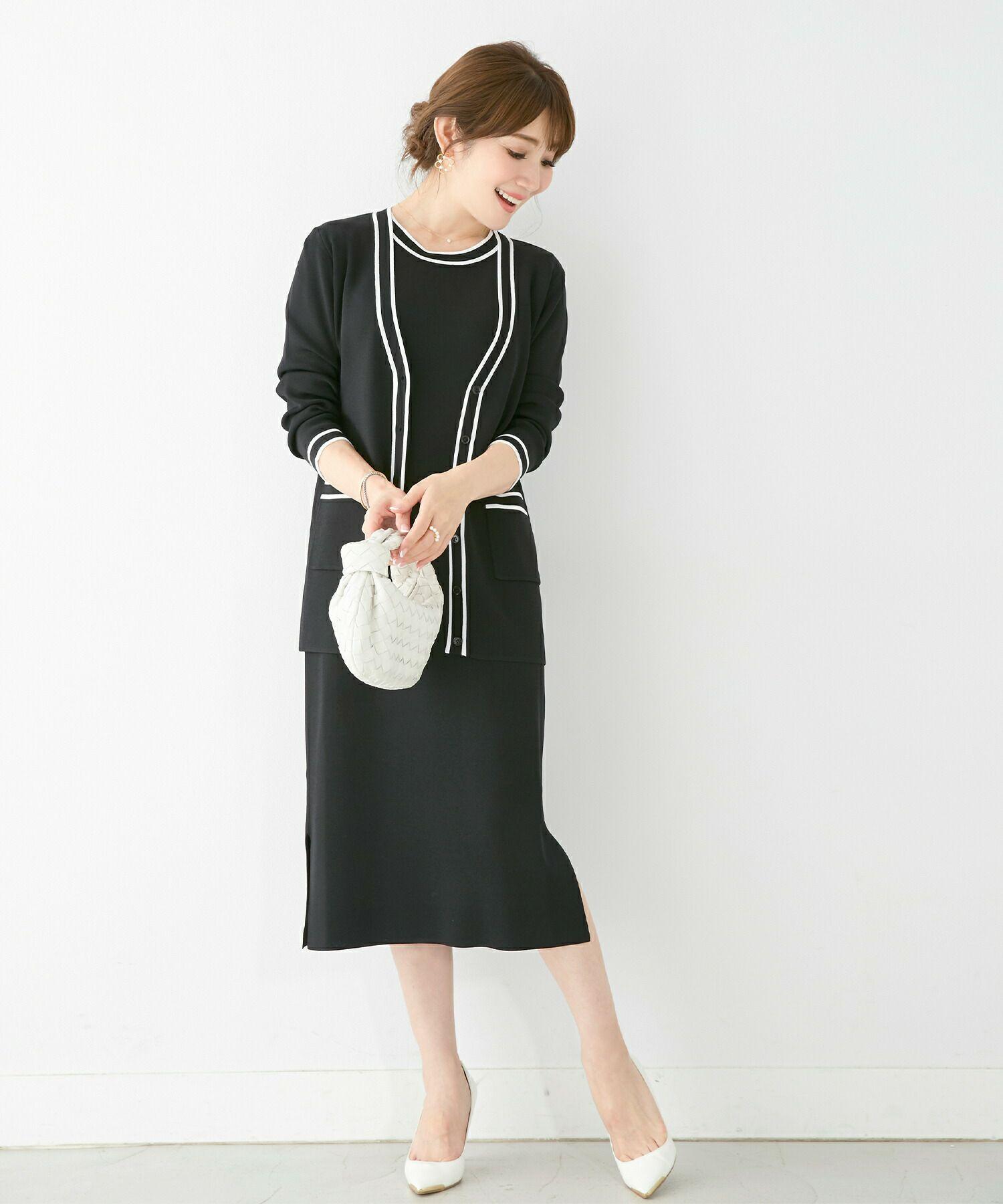 中村さんワンピ/アンサンブル対応/膝下丈/スリット入り/上品/綺麗め