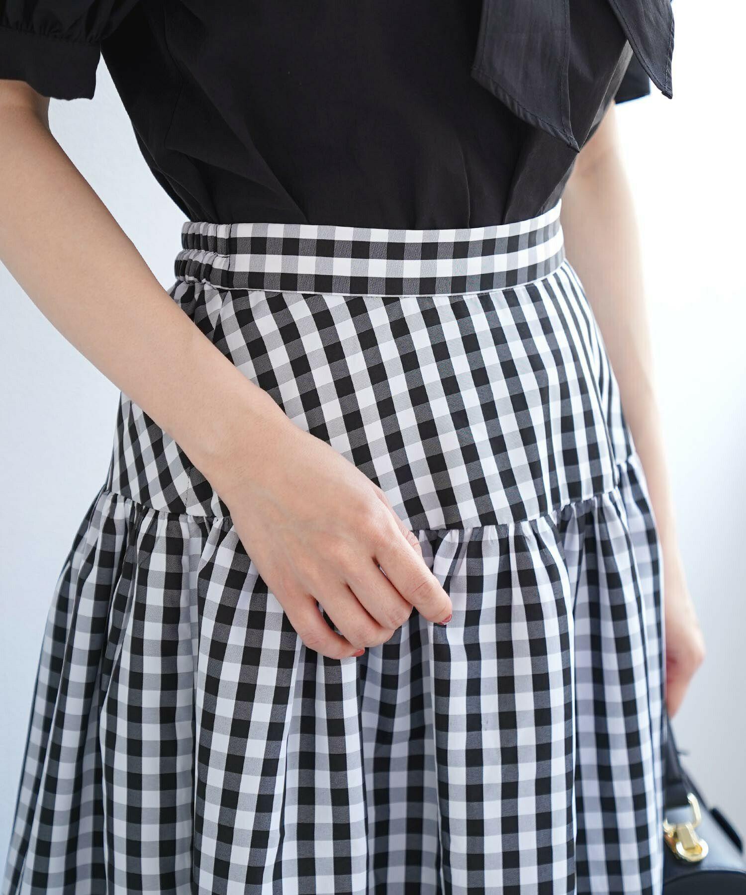 手洗い可/ロング丈/切り替え/ギャザースカート/レッド/ブラック/チェック/ギャザー切り替え/ロングスカート